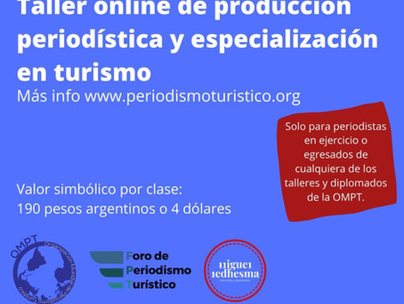 Taller online de producción periodística y especialización en turismo