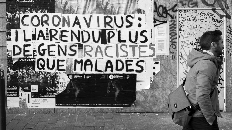 "Activists in Nantes, France, ""Coronavirus: It has made more people racist than sick"", Image by Estelle Ruiz / Nurphoto / Getty"