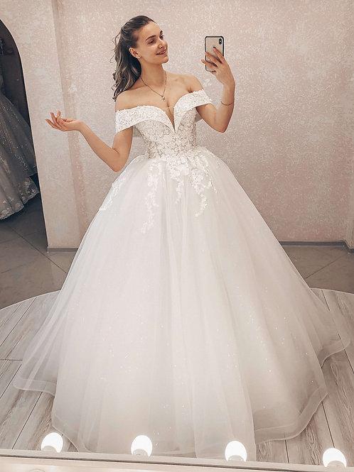 Пышное свадебное платье Эстель декольте