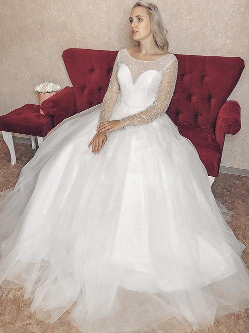 блестящее свадебное платье Пион