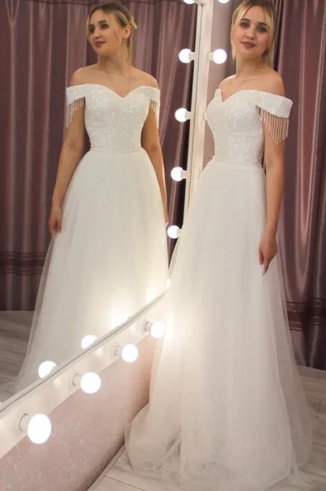 Свадебное платье Луна а-силуэт