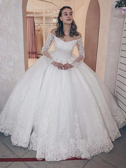 свадебное платье со светоотражающим кружевом Тиара