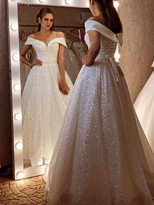 Свадебные платья блестящие, Силвер декольте