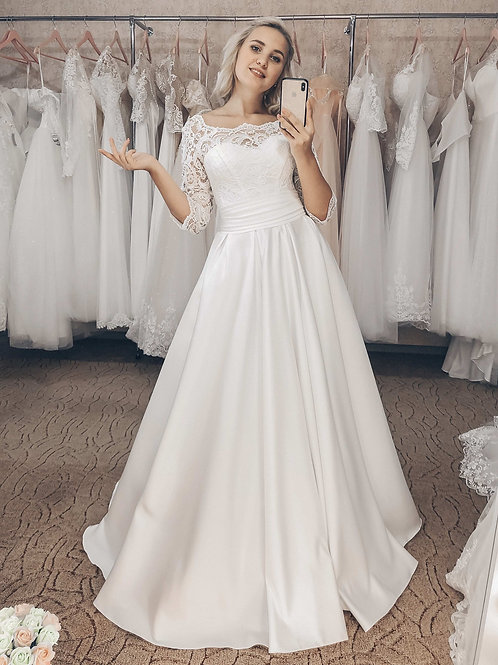 атласное свадебное платье Нэлли