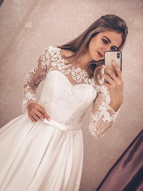 атласное свадебное платье Вика