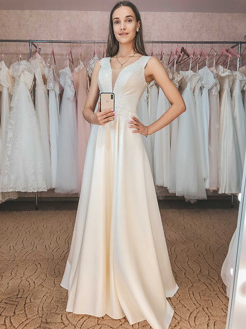 атласное свадебное платье Алина