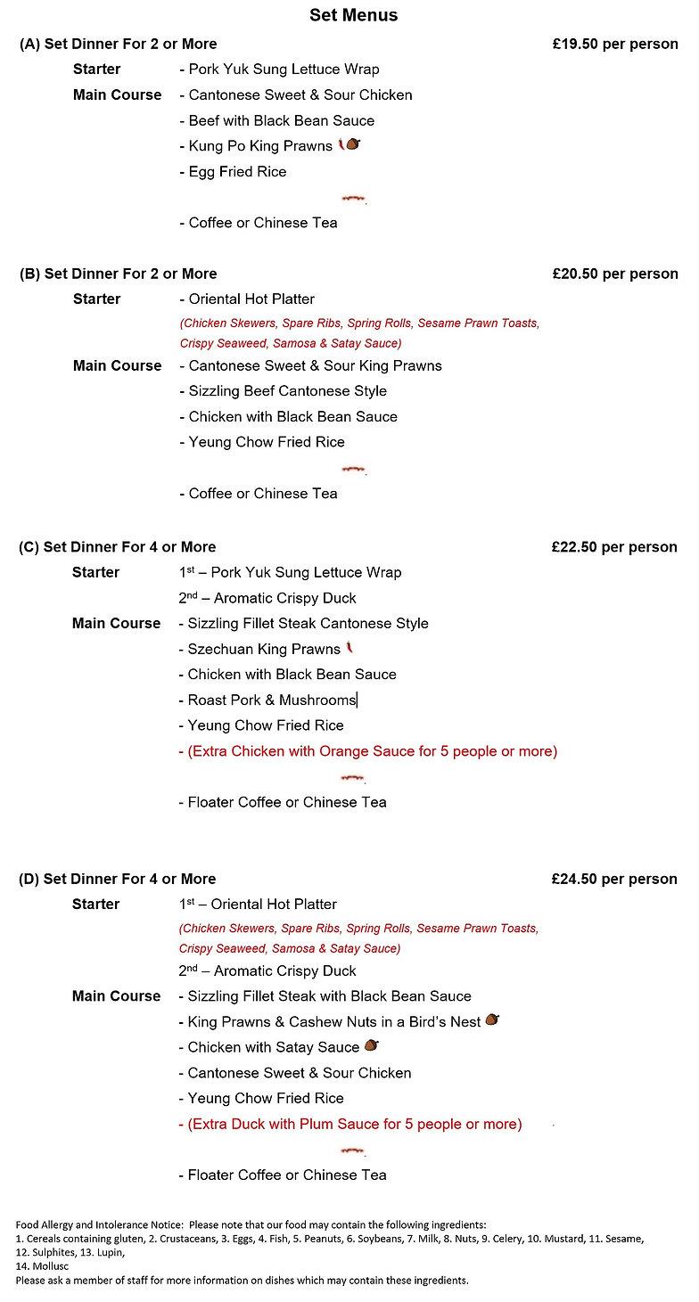 2018 Set menu