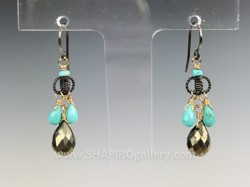 Pyrite and turquoise small chandelier earrings shapiros st pyrite and turquoise small chandelier earrings shapiros st petersburg hyde park village aloadofball Gallery
