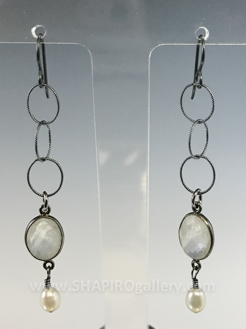 just peach earrings stella design moonstone moon stone blue shape organic peachy