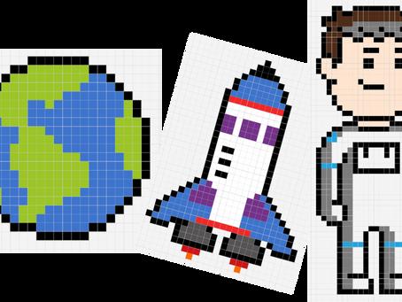 Pixels art : Espace et Thomas Pesquet