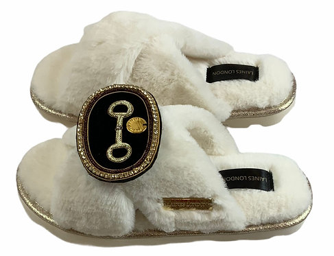 Ultralight Chic Slippers / Sliders with Deluxe Horse-Bit Brooch
