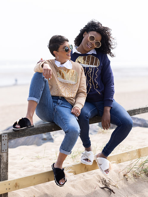 Beige Pearl & Gold Jellyfish Sweatshirt