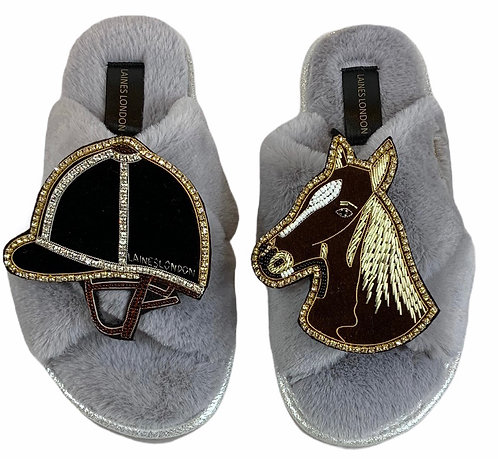 Ultralight Chic Slippers / Slider with Deluxe Chestnut Horse & Riding Hat Brooch