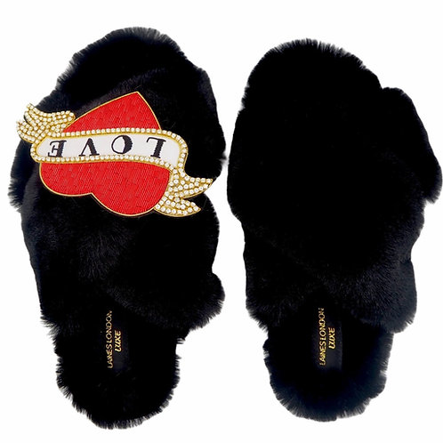 Laines Luxe Fluffy Black Slippers With Deluxe Diamanté Heart Tattoo Brooch