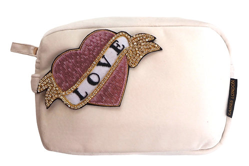 Laines London Luxe Cream Velvet Bag With Deluxe Pink Heart Love Tat