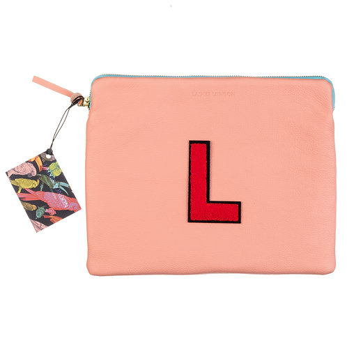 Personalised Large Classic Leather Clutch Bag - Pink