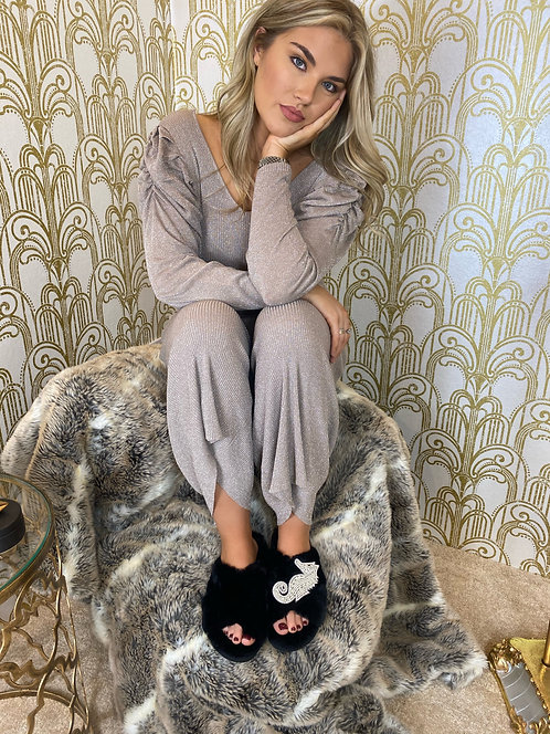 Laines Luxe Fluffy Black Slippers With Deluxe Silver Seahorse Brooch