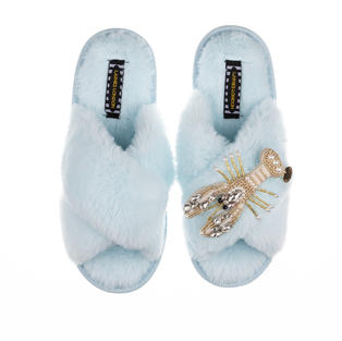Artisan Pearl & Gold Lobster on Powder Blue Classic Slippers