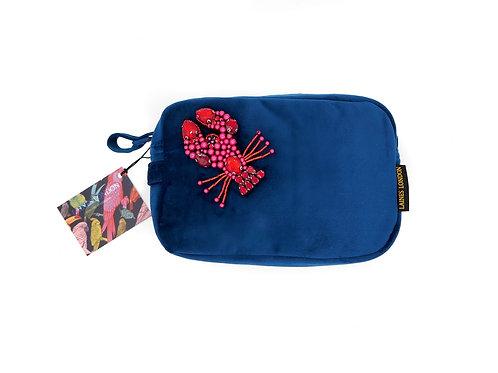 Navy Blue Velvet Bag With Beaded Lobster Brooch
