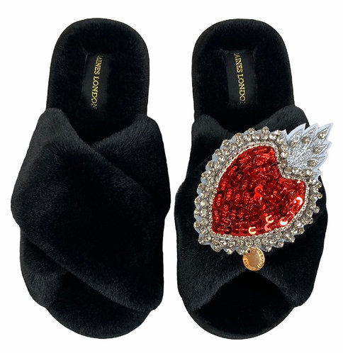 Classic Laines Slippers With Statement Heart Brooch