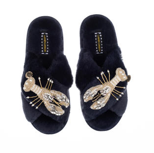Artisan Double Pearl & Gold Lobster on Navy Classic Slippers