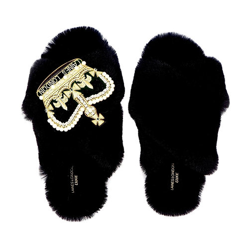 Laines Luxe Fluffy Black Slippers With Deluxe  Laines Crown Brooch