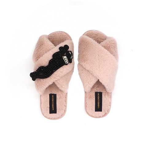 Pink Fluffy Slippers with Jet Panther Brooch