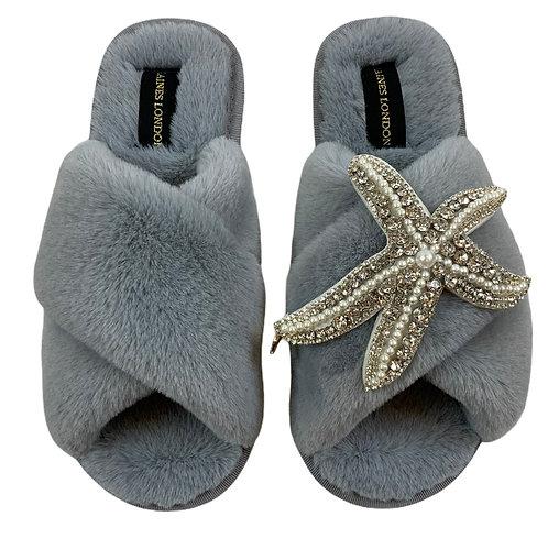 Grey Fluffy Slippers Silver Starfish Brooch