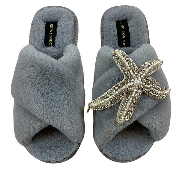 Classic Laines Slippers with Artisan Pearl and Silver Starfish