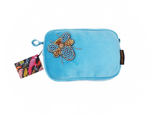 Turquoise Velvet Bag with Beaded Bug Brooch