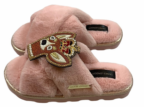 Ultralight Chic Slippers / Sliders with Deluxe Royal Corgi Brooch