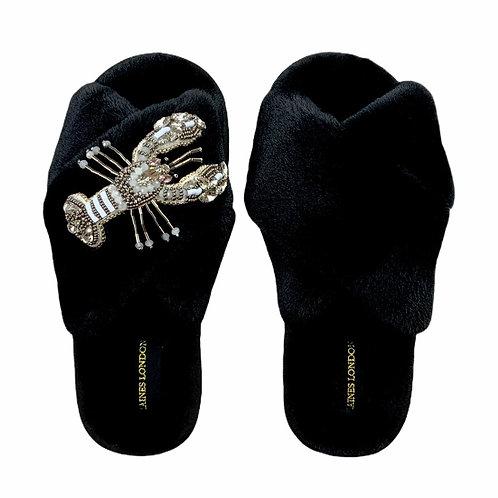 Black Fluffy Slippers White Lobster Brooch