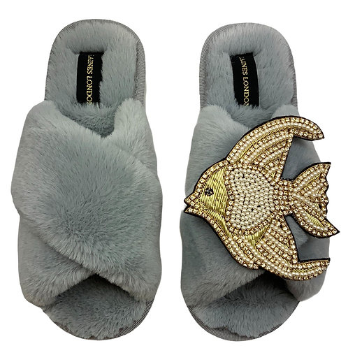 Grey Fluffy Slippers with Deluxe Crystal and Pearl and Gold Angel Fish Brooch