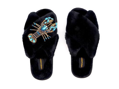 Black Fluffy Slippers Blue Crystal Lobster Brooch