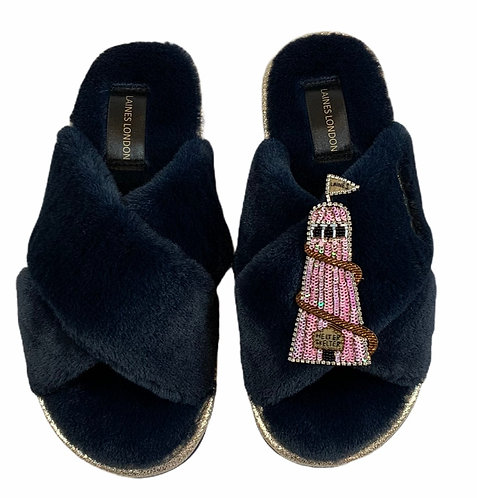 Ultralight Chic Slippers / Sliders with Premium Deluxe Helter-Skelter Brooch