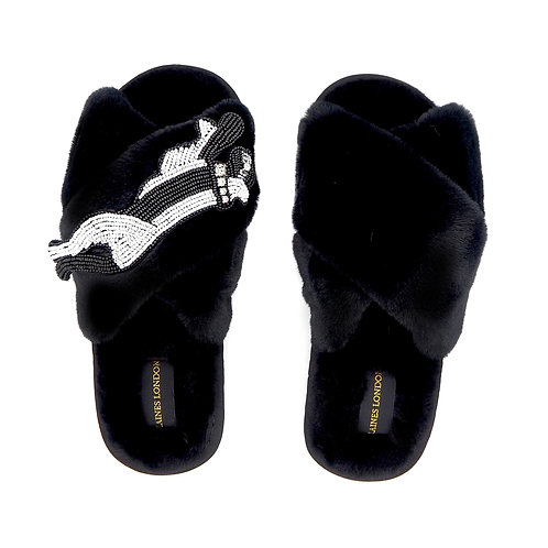 Black Fluffy Slippers with Monochrome Panther Brooch