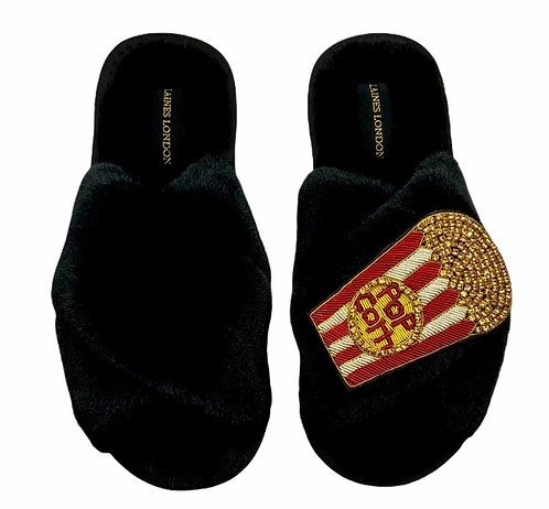 Black Fluffy Slippers with Deluxe Popcorn Brooch