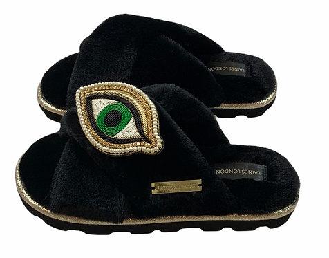 Ultralight Chic Slippers / Sliders With Artisan Green Eye Brooch