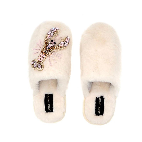 Closed Toe Cream Fluffy Slippers with Pink and Gold Lobster