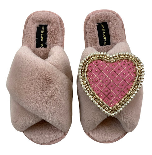 Pink Fluffy Slippers with Deluxe Pink Quilted Heart Brooch