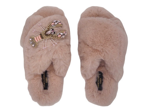 Laines Luxe Fluffy Pink Slippers With Crystal Pink Lobster Brooch