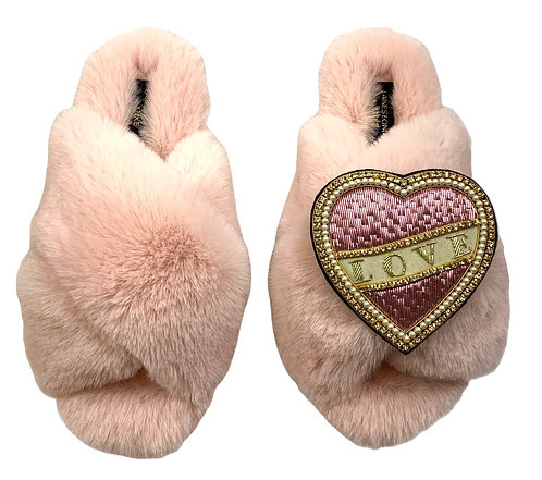 Laines Luxe Fluffy Pink Slippers With Pink & Cream Love Brooch
