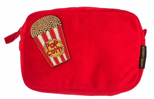 Laines London Luxe Red Velvet Bag With Deluxe Popcorn Brooch