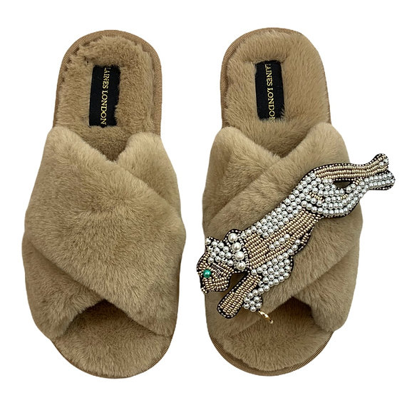 Classic Laines Slippers with Artisan Pearl & Gold Panther