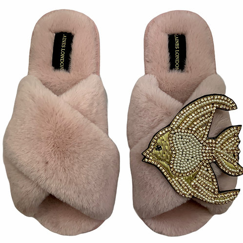 Pink Fluffy Slippers with Deluxe Crystal and Pearl and Gold Angel Fish Brooch