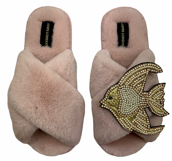 Classic Laines Slippers with Deluxe Crystal and Pearl and Gold Angel Fish Brooch