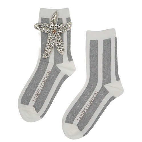 White and Silver Shimmer Stripe Cotton Socks With Silver Starfish Brooch