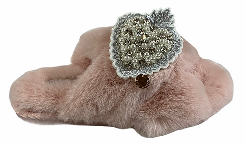 Laines Cloud Pink Slippers with Artisan Pearl Heart Brooch