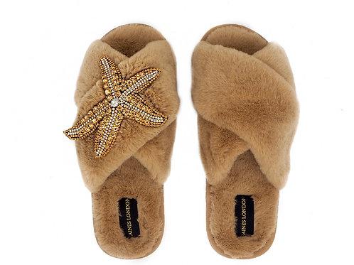 Caramel Fluffy Slippers Golden Starfish Brooch