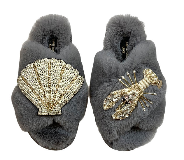 Laines Cloud Grey Slippers / Double Artisan Pearl & Gold Seashell & Lobster